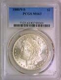1880/9-S Morgan Dollar PCGS MS-63; Frosty White