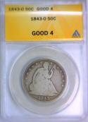 1843-O Seated Liberty Half Dollar ANACS G-4