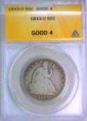 1843-O Seated Liberty Half Dollar ANACS G-4