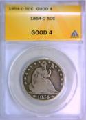 1854-O Seated Liberty Half Dollar ANACS G-4