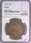 1872 Seated Liberty Dollar NGC VF-35; Looks XF!