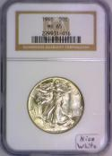 1946 Walking Liberty Half Dollar NGC MS-65; Nice White!