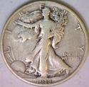 1918-S Walking Liberty Half Dollar; Nice F-VF