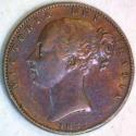 1853 Great Britain Farthing WW Incuse; VF; Scarce!