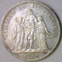 1877-A France Silver Five Francs; Choice AU-Unc.