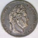 1846-A France Silver Five Francs; XF; Choice Original