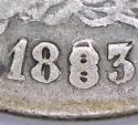 1883-Pi Mexico Silver 50 Centavos; Bold 8/8, Cool Repunched Date! F
