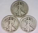 1918-P,D,S, Three Piece Walking Liberty Half Dollar Set  G-VG
