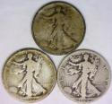 1920-P,D,S Three Piece Walking Liberty Half Dollar Set VG