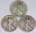 1919-P,D,S, Three Piece Walking Liberty Half Dollar Set; G-VG