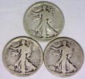 1919-P,D,S, Three Piece Walking Liberty Half Dollar Set; G-VG