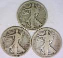 1917-P,D,S Three Piece Walking Liberty Half Dollar Set; VG