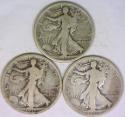 1917-P,D,S Three Piece Walking Liberty Half Dollar Set; VG