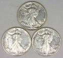 (3) From '43!  Three Nice AU 1943 Walking Liberty Half Dollars