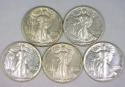 (5) Wartime Walkers! 1941-1945 Walking Liberty Halves; All Nice AU-Choice AU