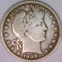 1908-O Barber Half Dollar; F