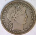 1907-D Barber Half Dollar; F-VF