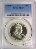 1953 Proof Franklin Half Dollar PCGS PR-67; Looks Cameo