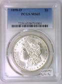 1898-O Morgan Dollar PCGS MS-65; Creamy White