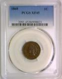 1868 Indian Head Cent PCGS XF-45