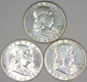 1949-P,D,S Franklin Half Dollar Three Piece Set; AU; Key Year For Franklins!