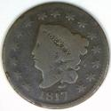 1817 Fifteen Stars Coronet Head Large Cent; G; N-16 Variety