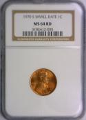 1970-S Small Date Lincoln Cent NGC MS-64 RD