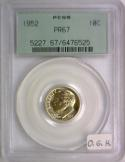1952 Proof Roosevelt Dime PCGS PR-67; Old Green Holder