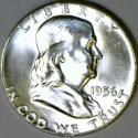 1956 Franklin Half Dollar; Choice BU++ FBL; Frosty White!
