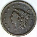 1838 Coronet Head Large Cent; F; N-7