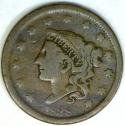 1838 Coronet Head Large Cent; Nice VG; N-6