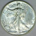 1941-D Walking Liberty Half Dollar; Choice AU+
