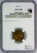 1903 Indian Head Cent NGC MS-65 RB With Photo Seal; Red-Green!