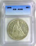 1849 Seated Liberty Dollar ICG AU-50