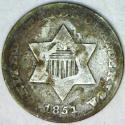 1851-O Three Cent Silver; F