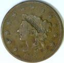 1837 Pl. Cd., Med. Let., Coronet Head Large Cent; VF; N-8