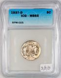 1937-D/D/D Buffalo Nickel ICG MS-65; RPM-005