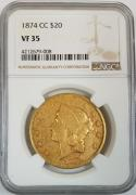 1874-CC $20 Gold Double Eagle NGC VF-35