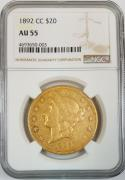 1892-CC $20 Gold Double Eagle NGC AU-55