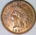 1887 Indian Cent; Nice AU-Unc.