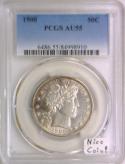1900 Barber Half Dollar PCGS AU-55; Nice Coin!  Looks '58!