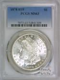 1878 8TF Morgan Dollar PCGS MS-63; Frosty White