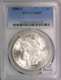 1880-S Morgan Dollar PCGS MS-65; Frosty White!