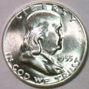 1955 Franklin Half Dollar; F.B.L. Choice BU; Frosty White