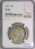 1877 Seated Liberty Half Dollar NGC XF-45; Nice Original