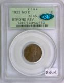 1922 No D Lincoln Wheat Cent; PCGS XF-45 With CAC; Strong Rev; Old Green Holder