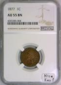 1877 Indian Head Cent NGC AU-55 BN; Nice Key!