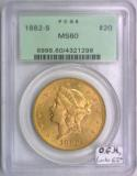1882-S $20 Gold Double Eagle PCGS MS-60; O.G.H., Looks 62+