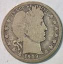 1909-O Barber Quarter; Choice Original G-VG