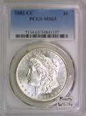 1882-CC Morgan Dollar PCGS MS-63; Frosty White